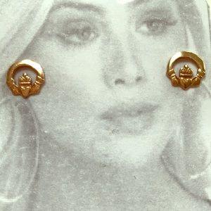 14K gold Irish claddagh earrings